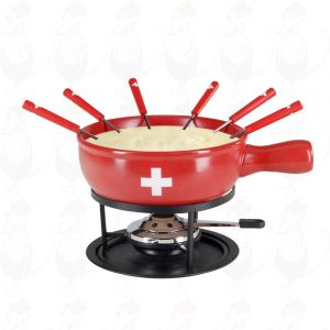 Kaasfondue set Swiss Red 9 delig