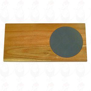 Kaasplank hout met zwarte marmer inleg 45 x 25 CM