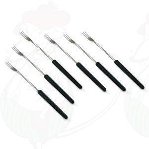 Kaasfondue vorken - 6 delige set - Donker hout handvatten