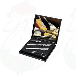 Giftbox Kaas & Wijn Set, Parmesanmes, Cheesy mes, kurkentrekker, druipring en wijndop met schenktuit