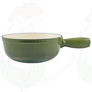 Enkel groene gietijzeren/geëmailleerde kaasfonduepan